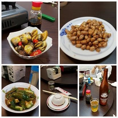 小食、餐具、啤酒